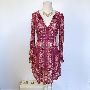 Free People Magenta Bohemian Mini Dress